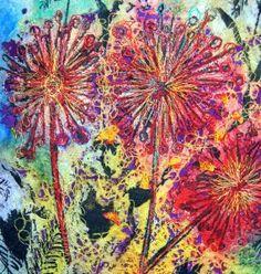 "Bren Boardman - Textiles in Fine Art  ""A Bouquet of Stitch"" Mixed media textile artwork"