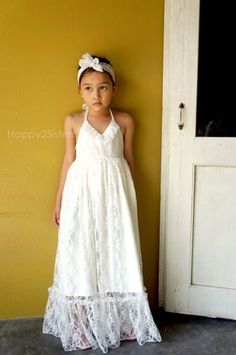 Girl lace maxi flower girl dress. – Happy2sisters
