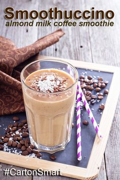 Smoothuccino… An almond milk coffee smoothie for an extra lift!   ½ cup chilled strong coffee ½ cup coffee low-fat frozen yogurt ¼ cup almond milk (use smart carton package brand like @almondbreezeaus.) ¼ cup ice 1 tablespoon ground chia seeds Pinch ground cinnamon