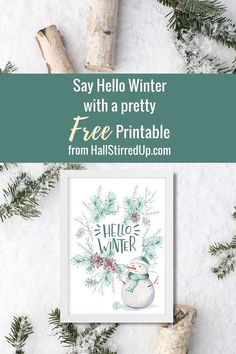 Say Hello Winter with a pretty new printable! - Hall Stirred Up - - Hello to the Solstice and to Winter! My newest printable says hello to winter with a fun snowman and pretty evergreen art. Printable December Calendar, Blank Calendar Pages, Printable Calendar Template, Kids Calendar, Free Printables, Wall Calendars, Hallo Winter, Winter Fun, Winter Season