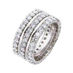 triple row diamond wedding band - Google Search
