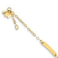 Children's Adjustable 14K Gold Hippo Charm ID Bracelet Available Exclusively at Gemologica.com