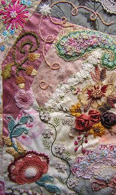 sewing - crazy quilting - fabulous detail Lorenza's block (10/2007) by Anne Nicolas-Whitney, via Flickr