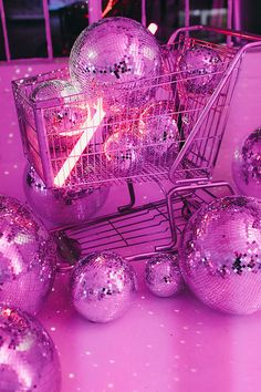 Cart, Pink, Retro , Disco Balls, Neon Light (With images) Bedroom Wall Collage, Photo Wall Collage, Picture Wall, Pink Lila, Pastel Pink, Aesthetic Collage, Purple Aesthetic, Boujee Aesthetic, Aesthetic Grunge