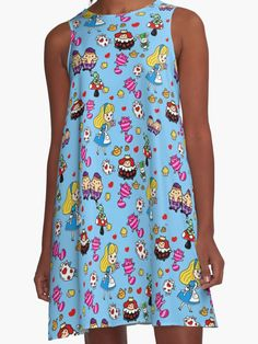 Alice in Wonderland Fashion by LeahG http://www.redbubble.com/people/cartoonistlg/works/19939063-alice-in-wonderland-fashion-by-leahg?asc=t&p=a-line-dress via @redbubble #aliceinwonderland #fashion #kawaii #doodleart