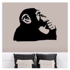 """Oh Banksy, it's like you KNOW Me.  Patrick Weber - Banksy Thinking Monkey Wall Decal - """"Banksy is perhaps the most famous, or infamous, artist alive. To some a genius, to others a vandal. Always controversial, he inspires admiration and provokes outrage in equal measure."""" The """"Thinker"""" statue always lacked a little whimsy. It seems we've found it in this thinking monkey decal. Liven up your wall now!"""