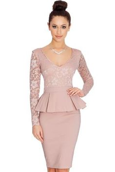 Beautiful Long Sleeve Scoop Lace Short Bodycon Dress - Oh Yours Fashion - 5