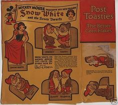 1930s Mickey Mouse Post Toasties Snow White Box Cut Out (04/19/2008)
