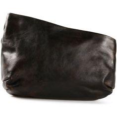 Marsèll 'Fantasmino' clutch ($965) ❤ liked on Polyvore featuring bags, handbags, clutches, clutches / wallets / purses, black, 100 leather handbags, horse handbags, real leather handbags, real leather purses and leather clutches