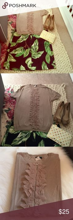 J. Crew Cotton Tulle Sweater Taupe short sleeve sweater in 100% cotton featuring hidden button placket under a cascade of tulle detailing; feminine, flirty, pretty, and perfect to pair with anything, this is the ideal sweater for summer days. Lightweight and divine for the office or casual wear. New without tags; never worn. The color is taupe so it mixes well with everything. J. Crew Sweaters Cardigans
