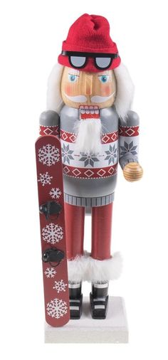 "Nutcracker Figures Christmas Wooden Snowboarding Santa Claus Nutcracker 14"" Tall #CleverCreations"