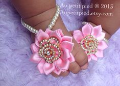 Baby barefoot sandals baby bling princess baby by Aupetitpied
