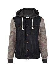 Dark wash tapestry sleeve hooded denim jacket