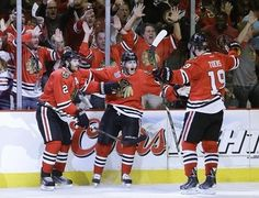 Kane...scores yet again...two goals in game 5, Hawks win!