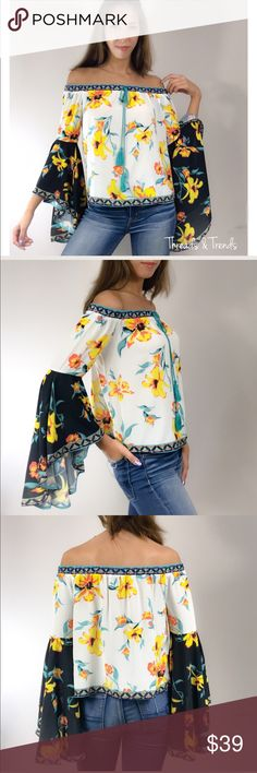 🌸🆕 Buttercup Orchids Bell Sleeve Top Stunning design, Buttercup Yellow, Orchid, off shoulder bell sleeve blouse. Contains all the must have trendiest features of the season. Off  Shoulder feature elastic for a sure fit. Finest detail of cascading bell sleeves. Made of a silky rayon/poly blend. Drapes nicely for a gorgeous look. Size S, M, L                   Price is firm unless bundled.                                                  Small  Bust 42 Length 19  Medium  Bust 44 Length 19…