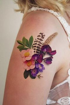 Flowers and feathers temporary tattoo #TattooIdeasFemale