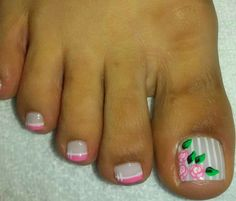 New Nails Toe Summer 2018 Ideas Cute Toe Nails, Toe Nail Art, Fun Nails, Pink Manicure, Pedicure Nails, Pretty Pedicures, Pretty Nails, Summer Toe Nails, Kawaii Nails