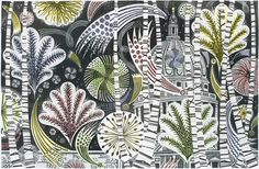 Angie Lewin's linocut print, 'Thames Fireworks'
