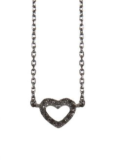 AS29 Necklaces :: AS29 black gold and black diamonds Empty Mini Heart necklace | Montaigne Market