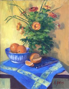 """ANN GORES, """"Oranges and Blues"""", Oil on Canvas, 18 x 14"""