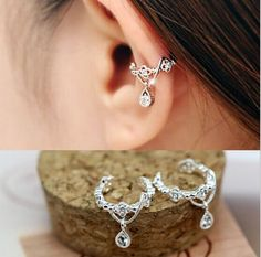 Fashion Jewelry Ear Cuff Wrap Rhinestone Cartilage Clip On Earring non-pierced  #Luckiness #Stud