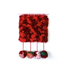Handwoven Tapestry  Furry Pom Pom by jujujust on Etsy