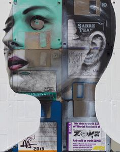 Nick Gentry – Oil paint, computer disks, wood.