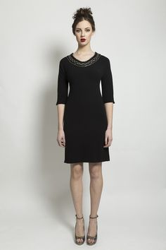 Black crepe dress with sequin neckline and length sleeve. Aw 2014, Crepe Dress, 21st Century, High Neck Dress, Sequins, Neckline, Fashion Outfits, Clothing, Sleeves