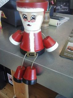 Santa flower pot person by crazycraftingfriends on Etsy, $40.00