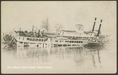"""Steamboat """"Ohio"""" sinking into the river - Steamboats Stern wheelers Postcards"""