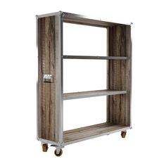 Here's an attractive storage option that also means business. Made from a handsome combination of aluminum edging and raw reclaimed teak, the Nashville Bookcase is a perfect addition to the industrial ...  Find the Nashville Bookcase, as seen in the Basement Sessions Collection at http://dotandbo.com/collections/basement-sessions?utm_source=pinterest&utm_medium=organic&db_sku=118079