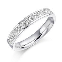Half Eternity Ring Princess Cut Channel Set 0.85ct