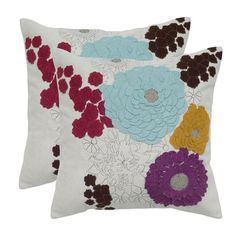 Felt pillow in off-white with multicolor floral applique details.   Product: PillowConstruction Material: Felt ...