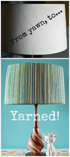 using colored yarn to make a creative lampshade