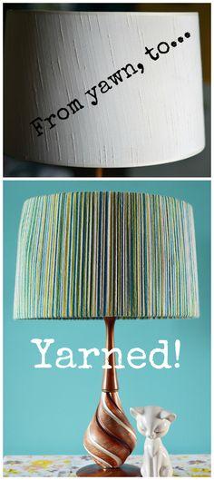 using colored yarn to make a creative lampshade