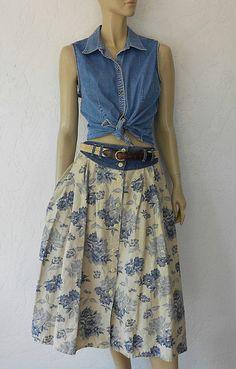Vintage Skirt /80's Bohemian Denim Floral Print by luvofvintage, $28.00
