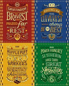 Harry Potter Lettering series in collaboration with Risa Rodil, featuring the Hogwarts Houses from Harry Potter. Harry Potter World, Harry Potter Quiz, Magie Harry Potter, Classe Harry Potter, Estilo Harry Potter, Arte Do Harry Potter, Harry Potter Spells, Theme Harry Potter, Harry Potter Drawings