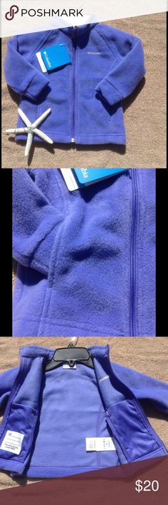 Kids Columbia Polar Fleece Zip Front This cozy warm polar fleece jacket zips up the front. Two front pockets to keep tiny hands warm. Two inside pouch pockets for holing extra goodies. Machine washable. Periwinkle blue. Columbia Jackets & Coats