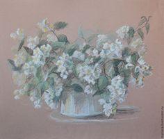 Купить Картина пастелью Жасмин - белый, жасмин, натюрморт с цветами, натюрморт пастелью, летний натюрморт