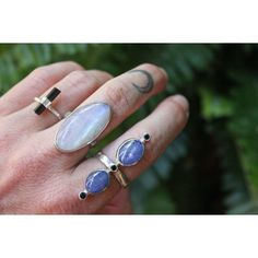 "@shabdkmaui Gurushabd K ❤️ on Instagram: ""Sterling Silver Black Tourmaline, Moonstone and Tanzanite with Black Spinel rings ⚡️ #ShabdKMaui"""