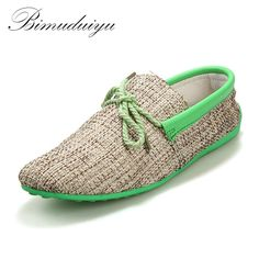 BIMUDUIYU Spring /Summer Fashion Men Weaving Woven Casual Shoe Lace-up Loafers Comfortable Flat Shoes Breathable Driving Loafers #Affiliate