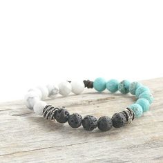 Balance Bracelet - gemstone and lava rock diffuser bracelet