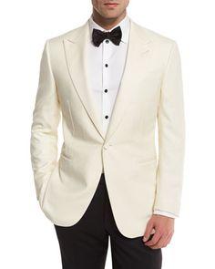 Ermenegildo Zegna Satin-Lapel One-Button Dinner Jacket, White Wedding Tuxedo Styles, White Tuxedo Wedding, Wedding Suits, Wedding Groom, Wedding Tuxedos, Wedding Jacket, Wedding Men, Trendy Wedding, Bride Groom