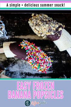 Easy Frozen Banana Popsicles – a kid favorite, but fun for adults too! Everyone can to create their own, customized with personal toppings. We used coconut, nuts and sprinkles but use your imagination! You can make this an even healthier treat by using dark chocolate (antioxidants FTW) and sprinkling crushed freeze-dried fruit, nuts, or dried fruit bits over the chocolate. Choose dairy-free chocolate if you'd like to make these dairy-free or vegan. #gfreefoodie #bananapops #healthysnack Best Gluten Free Desserts, Gluten Free Treats, Healthy Treats, Dairy Free Chocolate, Chocolate Recipes, Frozen Banana Pops, Banana Popsicles, Freeze Dried Fruit, Summer Snacks