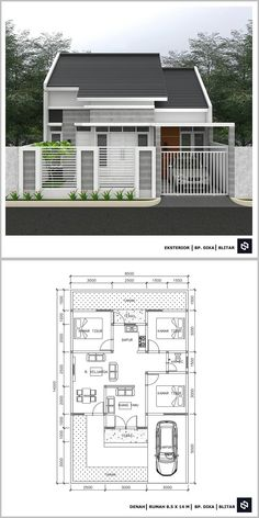 Small House Layout, House Layout Plans, My House Plans, House Layouts, Narrow House Designs, Modern Small House Design, Simple House Design, Minimalis House Design, Modern Bungalow House