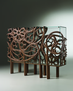 Designed by Ferruccio Laviani and manufactured by Italian company Fratelli Boffi, Gothik-A Cabinet envelops glass case with decorative wooden design. Art Furniture, Cabinet Furniture, Unique Furniture, Luxury Furniture, Contemporary Furniture, Furniture Design, Walnut Furniture, Furniture Websites, Furniture Removal