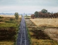 acrylic painting by Liz Almlie of railroad tracks, view from bridge. Railroad Tracks, Fields, Bridge, Public, Country Roads, Artwork, Painting, Work Of Art, Auguste Rodin Artwork