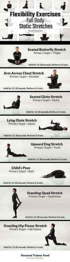 8 Full Body Static Stretches you can do anywhere, anytime, step by step infographic to guide you to better flexibility, less stress, and increased performance in no time from Personal Trainer Food.