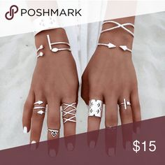 Coming Soon!  8 Piece Silver Midi Ring Set Brand new!! True Gem Boutique Jewelry Rings