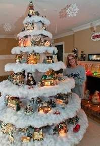 Christmas Village Tree ~ 10 Cool and Unusual Christmas Trees Christmas Tree Village Display, Unusual Christmas Trees, Creative Christmas Trees, Christmas Villages, Diy Christmas Tree, Christmas Projects, Beautiful Christmas, Christmas Time, Christmas Village Decorations